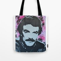 tom selleck Tote Bags featuring Tom Selleck _ Who Wants A Moustache Ride? by cutanddestroy1