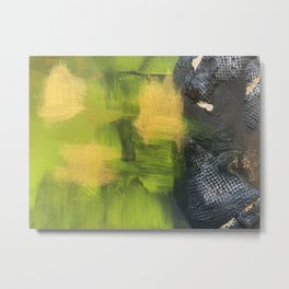 Dragon Essence: Green, Gold and Textured Grey Abstract Collage Metal Print