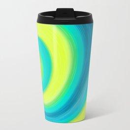 Abstract , yellow , green , wave Metal Travel Mug