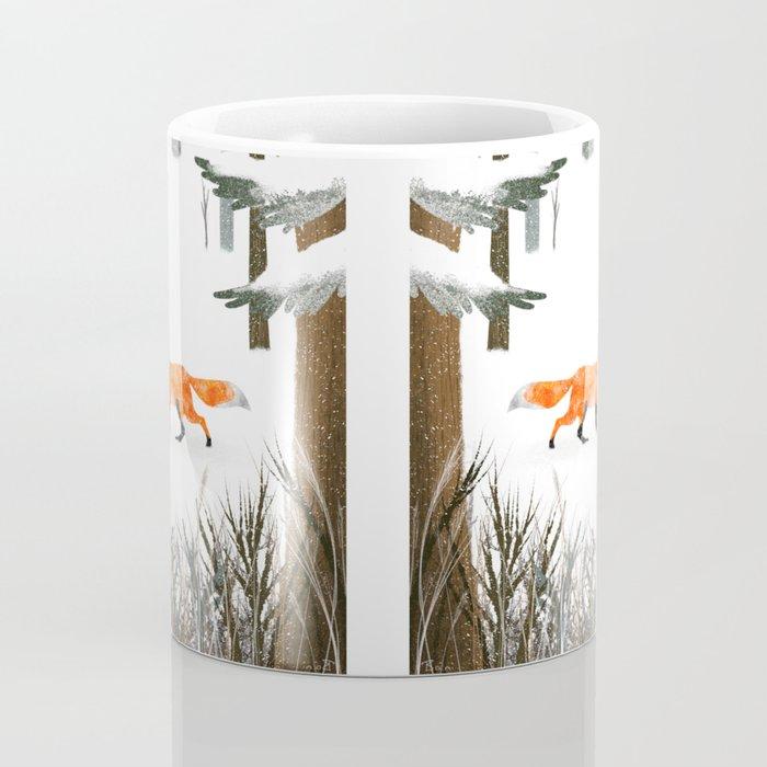 Fox In A Late Winter Snowfall Coffee Mug
