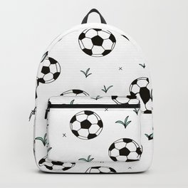 Fun grass and soccer ball sports illustration pattern Backpack