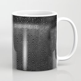 Black and White Rain Drops; Abstract Coffee Mug