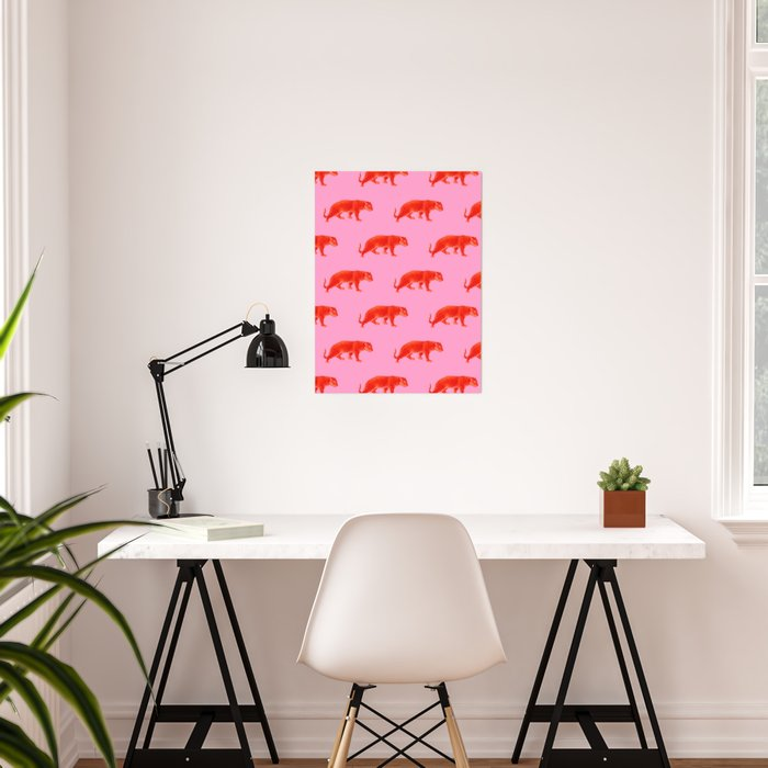 Vintage Cheetahs in Coral + Red Poster