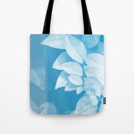 Leaves in Blue Tote Bag