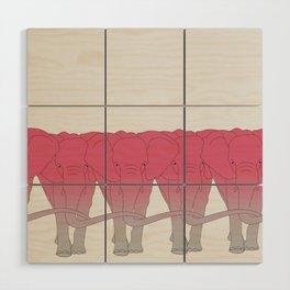 Pink elephant Wood Wall Art