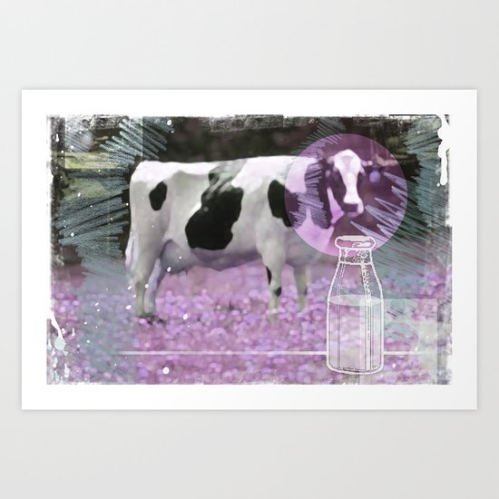 Milk comes from a bottle Art Print
