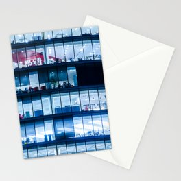 Offices at night Stationery Cards