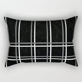 White & Gray Pinstripes on Scratched Black Grunge Illustration - Graphic Design Rectangular Pillow