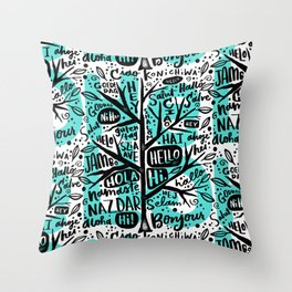 hello ni hao ciao konichiwa Throw Pillow