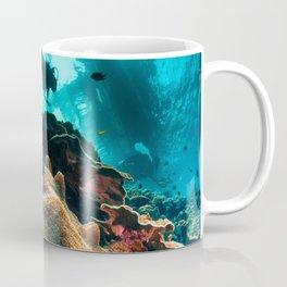 Colourful seascape with diver silhouette Coffee Mug