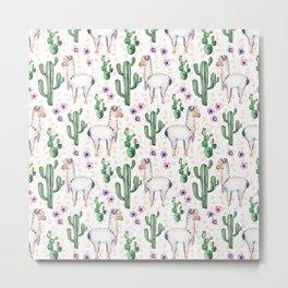 Llama Llamarama + Cactus Metal Print