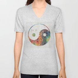 Yin And Yang - Colorful Peace - By Sharon Cummings Unisex V-Neck