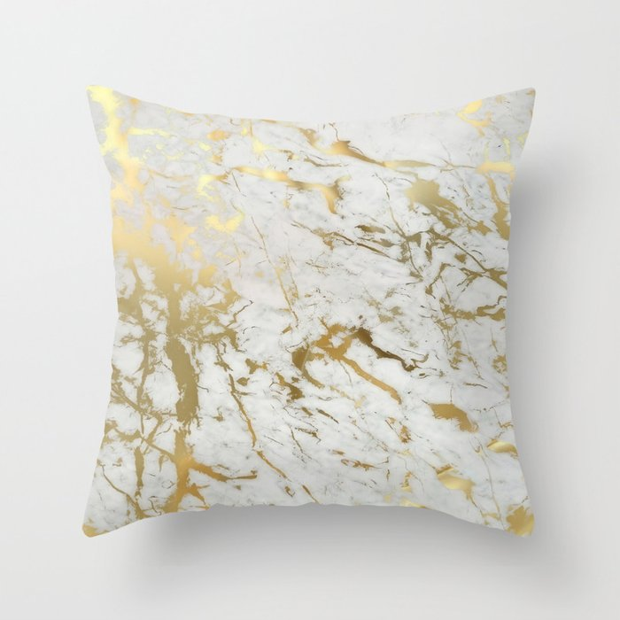Gold Marble Throw Pillow By Martaolgaklara Society6