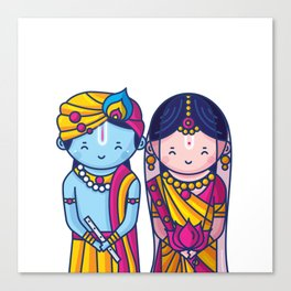 Cute Radha Krishna Canvas Print