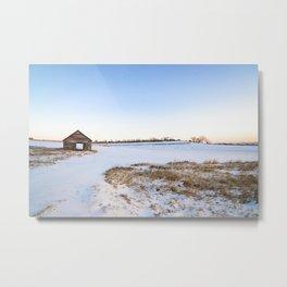 Snowy Barn Landscape Metal Print