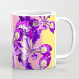 Abstract Purple Dutch Iris Floral Garden Yellow-Pink Coffee Mug
