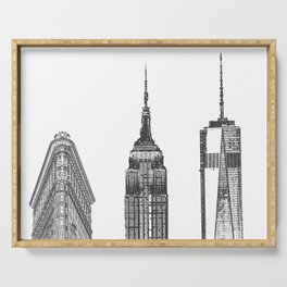 New York City Iconic Buildings-Empire State, Flatiron, One World Trade Serving Tray