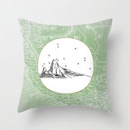 Machu Picchu, Peru, South America - Seven New Wonders Skyline Illustration Drawing Throw Pillow