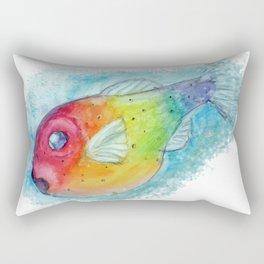 Rainbow Pufferfish Rectangular Pillow