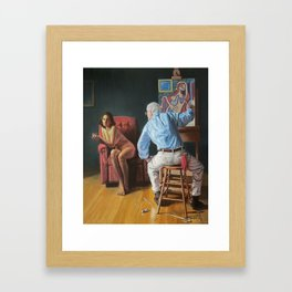 Rockwell Meets Picasso - Nude in a Red Armchair Framed Art Print