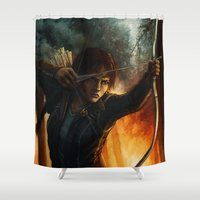 katniss Shower Curtains featuring Katniss Everdeen by Emily Doyle