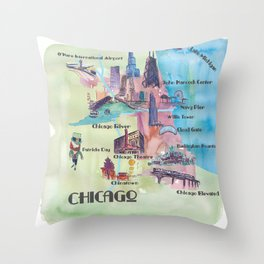 Chicago Favorite Map with touristic Top Ten Highlights in Colorful Retro Style Throw Pillow
