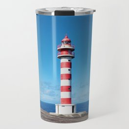 Striped Lighthouse in Gran Canaria Overlooking the Atlantic Ocean Travel Mug