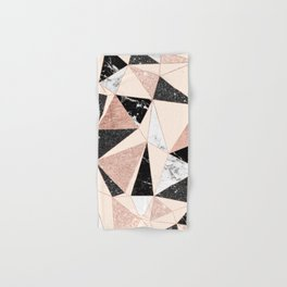 Modern black white marble rose gold glitter foil geometric abstract triangles pattern Hand & Bath Towel