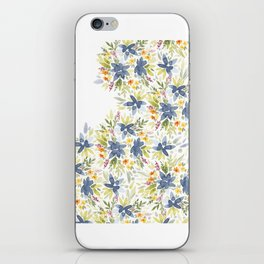 Blue Watercolor Florals iPhone Skin