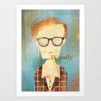 woody allen Art Prints featuring Woody Allen  by Adam Quest