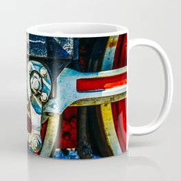 Red Wheels, Crosshead, Rods Of An Ancient Steam Locomotive Engine Coffee Mug