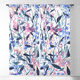 Wandering Wildflowers Blue Blackout Curtain