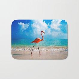 Amazing Awesome Pink Flamingo Walking Along Beach Ultra HD Bath Mat