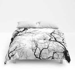 Black and white tree top silhouettes... Comforters