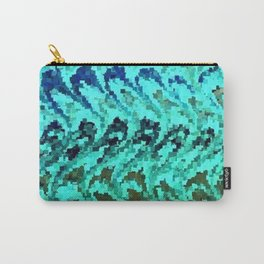 Swirls Teal Sage Waves Pixel Art Carry-All Pouch