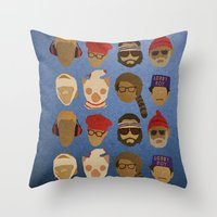 wes anderson Throw Pillows featuring Wes Anderson Hats by godzillagirl