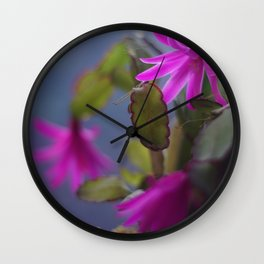 Magenta Blooming Cactus Wall Clock