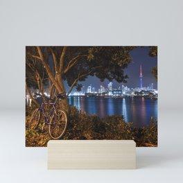 Auckland cityscape bicycle break after dark Mini Art Print