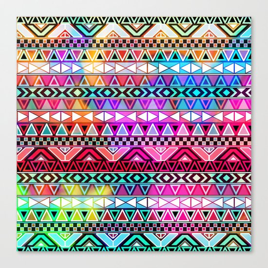 Neon Aztec | Purple Pink Neon Bright Andes Abstract Pattern Canvas Print