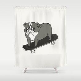 Skateboarding English Bulldog Shower Curtain