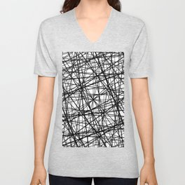 Geometric Collision - Abstract black and white Unisex V-Neck