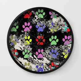 Paw Prints Pattern III - Textured Wall Clock