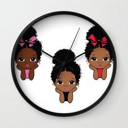 Peekaboo girl bundle, afro puff, princess design Wall Clock