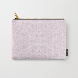 White Mandala on Pastel Pink Linen Textured Background Carry-All Pouch