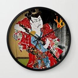 The Green Eyed Samurai Wall Clock