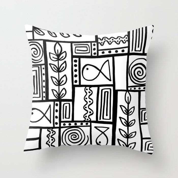 Fishes Seaweeds and Shells - Black and White Throw Pillow