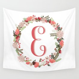 Personal monogram letter 'E' flower wreath Wall Tapestry