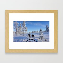 Running with the wolves - lapland Framed Art Print