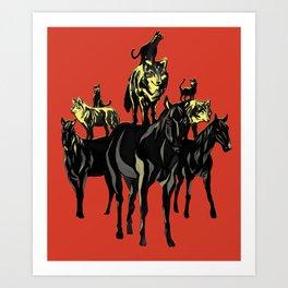 Cats on Wolfes on Horses // Des chats sur des loups sur des chevaux // Geoffroy MONDE Art Print