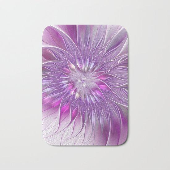 Pink Flower Passion, Abstract Fractal Art Bath Mat